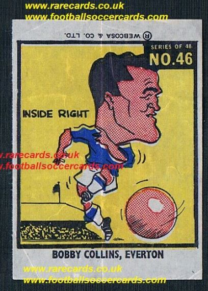 1960 Webcosa Bobby Collins Everton original wax paper gum insert